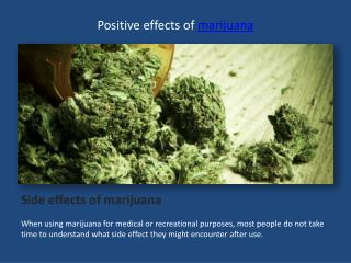 Positive effects of marijuana