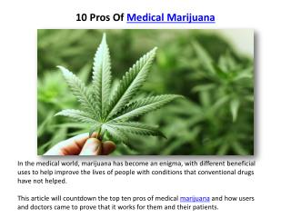 10 Pros Of Medical Marijuana