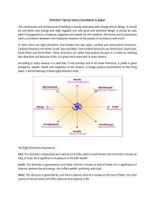 Direction Tips by Vastu Consultants in Jaipur