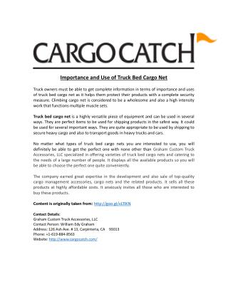 Importance and Use of Truck Bed Cargo Net