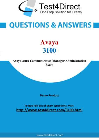 Avaya 3100 Exam - Updated Questions