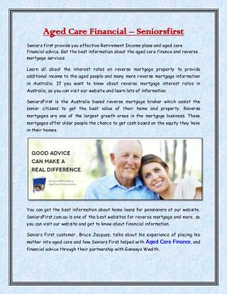 Aged Care Financial - Seniorsfirst