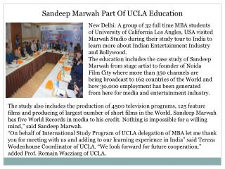 Sandeep Marwah Part Of UCLA Education