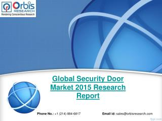 Global Security Door  Industry 2015-2020 & Market Overview Analysis