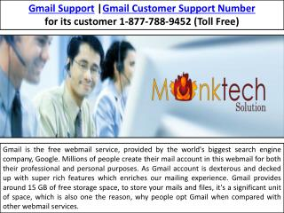 Gmail Support Number  1-877-788-9452 (Mail Support)