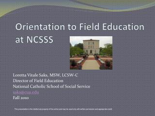 Orientation to Field Education at NCSSS