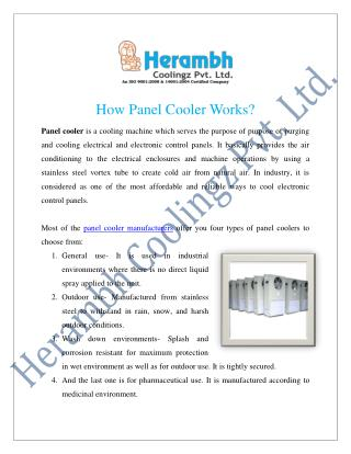 Panel Cooler Manufacturers Suppliers India