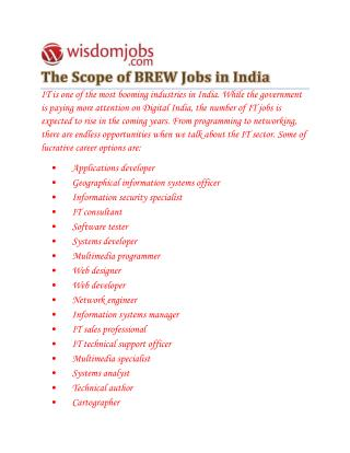 BREW Jobs Opening - Wisdomjobs