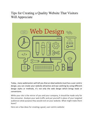 Tips for Creating a Quality Website That Visitors Will Appreciate