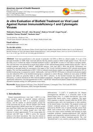 Biofield Treatment Impact on Human Immune Deficiency Virus