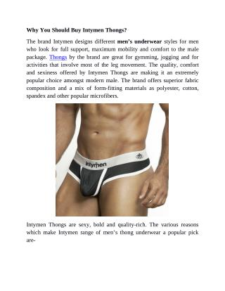 Why You Should Buy Intymen Thongs?