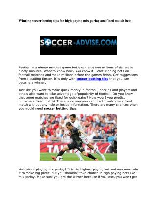Winning soccer betting tips for high paying mix parlay and fixed match bets
