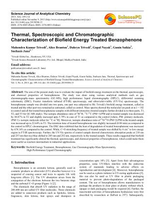 Spectral Properties of Biofield Energy Treated Benzophenone