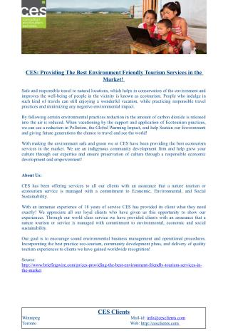 CES: Providing The Best Environment Friendly Tourism Services in the Market!