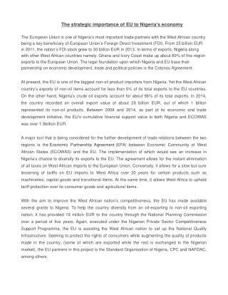 The strategic importance of EU to Nigeria's economy