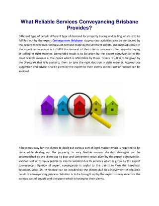 What Reliable Services Conveyancing Brisbane Provides?