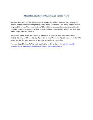 Mediator As A Career Choice And Career Move
