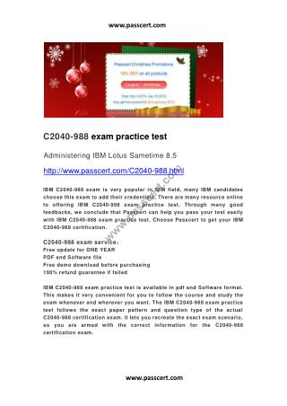 IBM C2040-988 exam practice test
