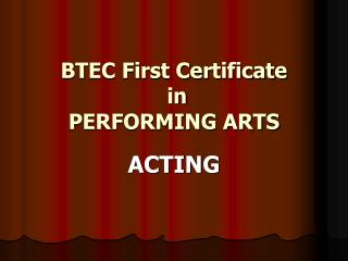 BTEC First Certificate