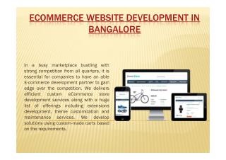 E-commerce website development company in Bangalore