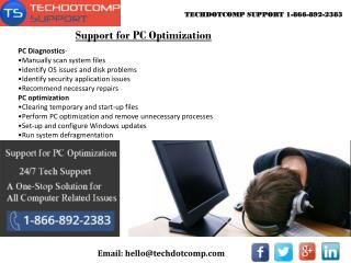 Support for PC Optimization 1-866-892-2383
