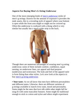Aspects For Buying Men's G-String Underwear