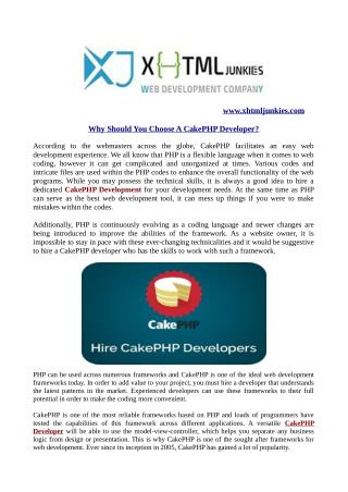 Why should you choose a cake php developer