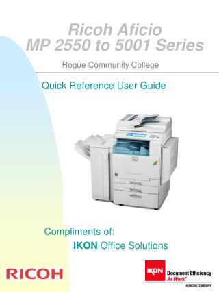 Ricoh Aficio  MP 2550 to 5001 Series