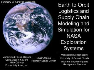 Earth to Orbit Logistics and Supply Chain Modeling and Simulation for NASA Exploration Systems