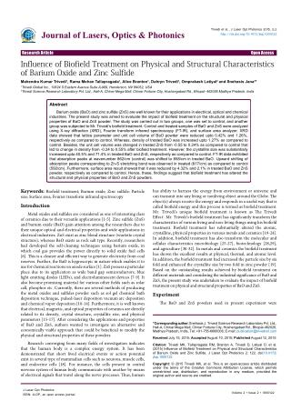 Journal of Lasers, Optics & Photonics