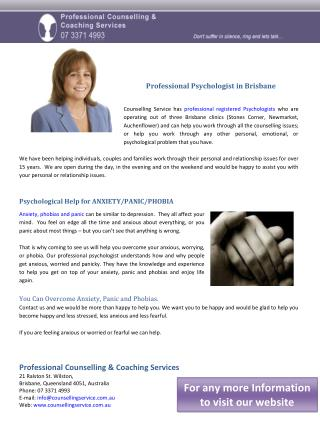 Professional Psychologist in Brisbane