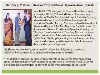Sandeep Marwah Honored by Cultural Organization Sparsh
