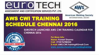 AWS CWI Schedule Chennai 2016