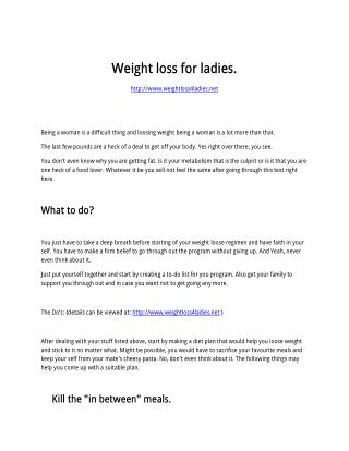 Weight loss for ladies