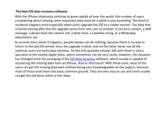 The best iOS data recovery software