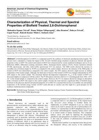 Influence of Biofield Energy Treatment on 2,6-Dichlorophenol