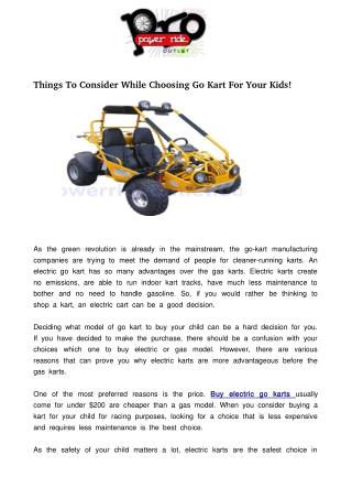 Things To Consider While Choosing Go Kart For Your Kids!