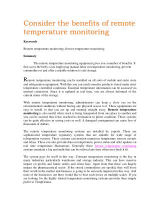 Consider the benefits of remote temperature monitoring
