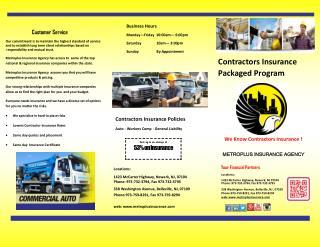 Contractors insurance New Jersey Metroplus insurance Agency