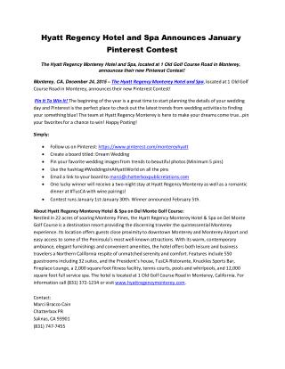 Hyatt Regency Hotel and Spa Announces January Pinterest Contest
