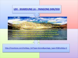 LEH - KHARDUNG LA – PANGONG 04N/05D