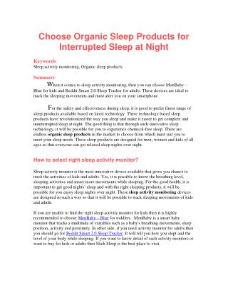 Choose Organic Sleep Products for Interrupted Sleep at Night