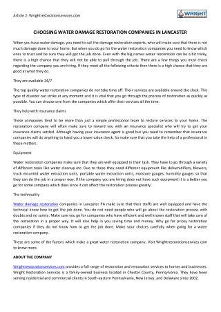 Choosing Water Damage Restoration Companies in Lancaster