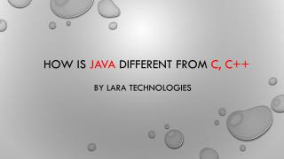 Java different from c, c   at Lara Technologies.
