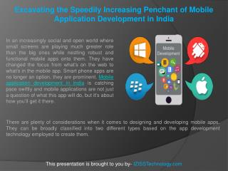 Excavating the Speedily Increasing Penchant of Mobile Application Development in India