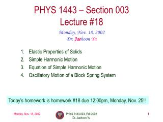 PHYS 1443   Section 003 Lecture 18