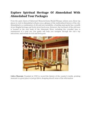 Explore Spiritual Heritage Of Ahmedabad With Ahmedabad Tour Packages