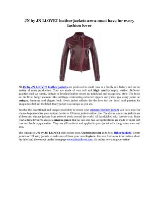 JN by JN LLOVET leather jackets are a must have for every fashion lover