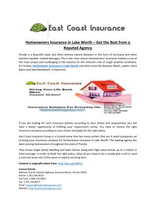 Homeowners Insurance in Lake Worth � Get the Best from a Reputed Agency