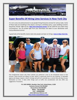 Super Benefits Of Hiring Limo Services In New York City
